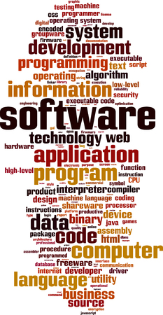 Software word cloud concept. Vector illustration Illustration