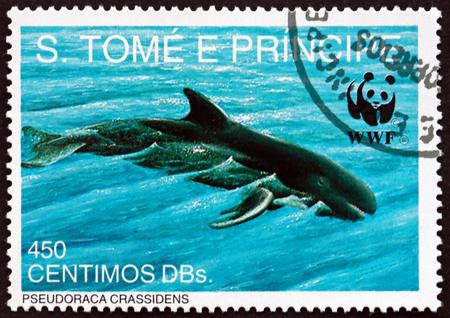 SAO TOME AND PRINIPE - CIRCA 1992: a stamp printed in Sao Tome and Principe shows False Killer Whale, Pseudoraca Crassidens, is a Member of the Dolphin Family, circa 1992