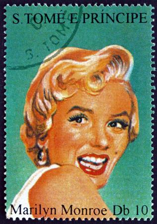 SAO TOME AND PRINIPE - CIRCA 1994: a stamp printed in Sao Tome and Principe shows Marilyn Monroe, American Movie Star, circa 1994