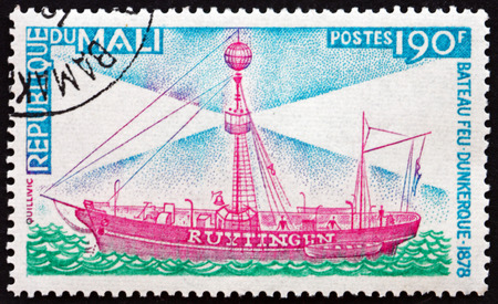 MALI - CIRCA 1976: a stamp printed in Mali shows Lightship Ruytingen, Dunkirk, circa 1976