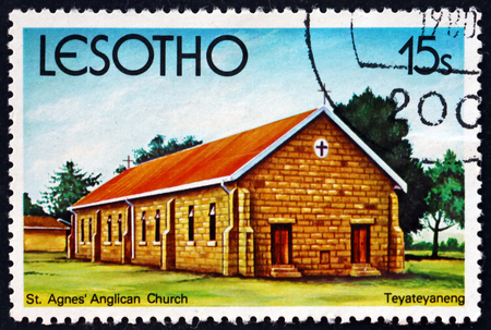 LESOTHO - CIRCA 1980: a stamp printed in the Lesotho shows St. Agnes Anglican Church, Teyateyaneng, circa 1980 Editorial