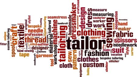 Tailor word cloud concept. Vector illustration