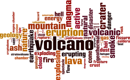 caldera: Volcano word cloud concept. Vector illustration
