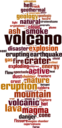 Volcano word cloud concept. Vector illustration