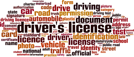 Drivers license word cloud concept. Vector illustration Illustration