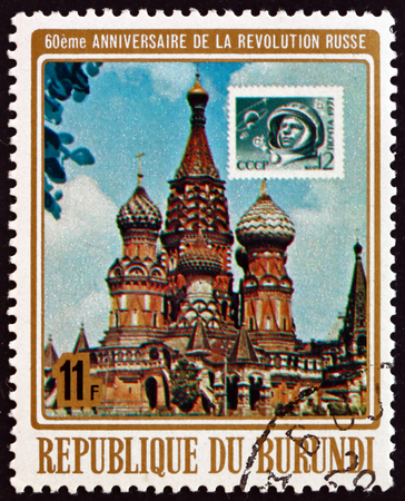 poststempel: BURUNDI - CIRCA 1977: einen Stempel in Burundi gedruckt zeigt Kreml, Moskau, 60. Jahrestag der russischen Oktoberrevolution, circa 1977