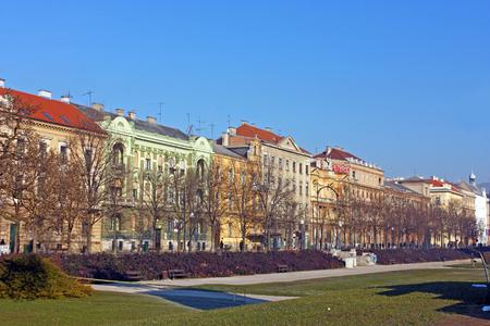 CROATIA ZAGREB, 20 FEBRUARY 2015: An old city street with colorful buildings, Zrinjevac, Zagreb Editorial