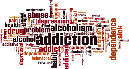 Addiction word cloud concept. Vector illustration