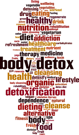 colon cleansing: Body detox word cloud concept. Vector illustration Illustration