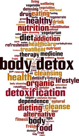 Body detox word cloud concept. Vector illustration Illustration