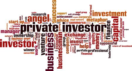investisseur privé concept de mot de nuage. Vector illustration