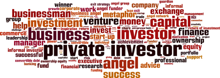ownership equity: Private investor word cloud concept. Vector illustration Illustration