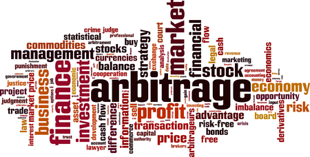 Arbitrage word cloud concept. Vector illustration