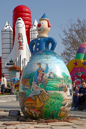 CROATIA KOPRIVNICA, 20 MARCH 2016: Exhibition of large Easter eggs Egg from the heart at Zrinski square in Koprivnica, Croatia