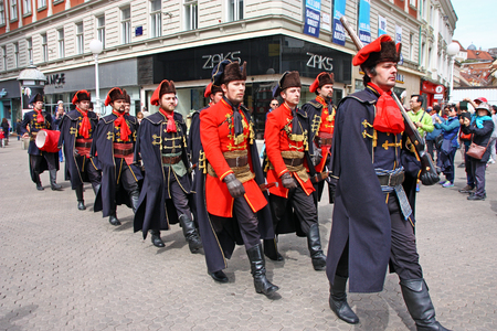 CROATIA ZAGREB, 23 APRIL 2016: Members of the Cravat Regiment on the square of Ban Jelacic