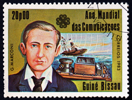 GUINEA-BISSAU - CIRCA 1983: a stamp printed in Guinea-Bissau shows Guglielmo Marconi, Italian Inventor and Electrical Engineer, circa 1983 Editorial