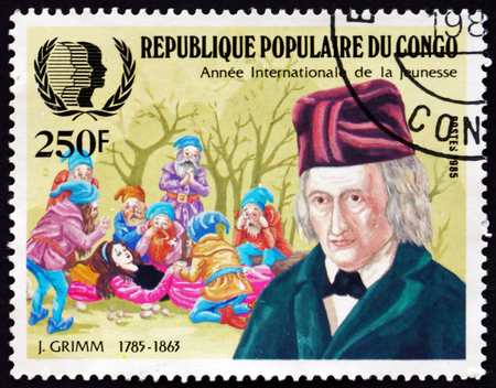 carl: CONGO - CIRCA 1985: a stamp printed in Congo shows Jacob Grimm, German Philologist, Jurist and Fabulist, Sleeping Beauty, circa 1985