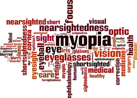 myopia: Myopia word cloud concept. Vector illustration