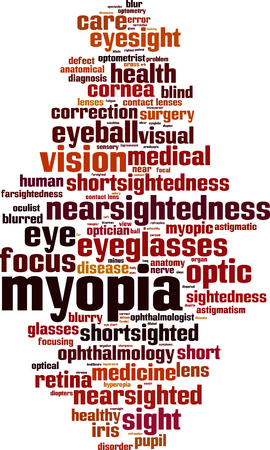 Myopia word cloud concept. Vector illustration