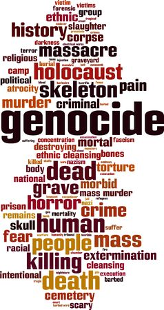 Genocide word cloud concept. Vector illustration