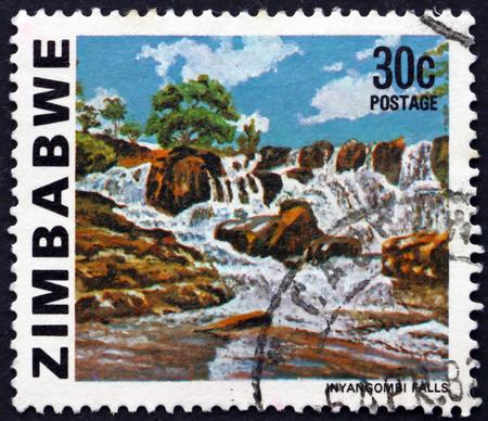 ZIMBABWE - CIRCA 1980: a stamp printed in Zimbabwe shows Inyangombe Falls, circa 1980