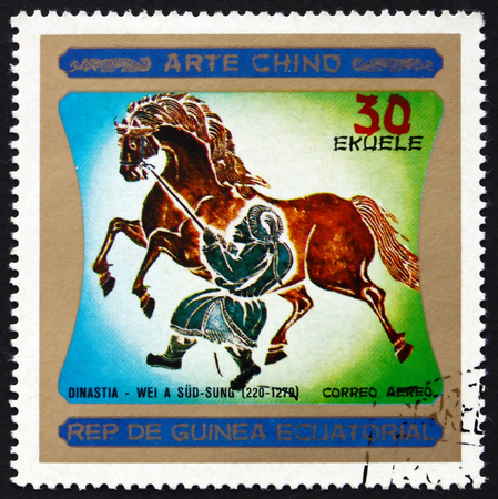 EQUATORIAL GUINEA - CIRCA 1977: a stamp printed in Equatorial Guinea shows Chinese Horse Painting, Chinese Art, Dynasty Wei a Sud-Sung, circa 1977