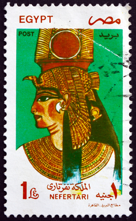 EGYPT - CIRCA 1997: a stamp printed in Egypt shows Queen Nefertari Meritmut, the first of the Great Royal Wives of Ramsesses the Great, circa 1997