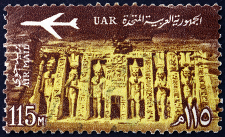 EGYPT - CIRCA 1963: a stamp printed in Egypt shows Temple of Queen Nefertari Meritmut, the first of the Great Royal Wives of Ramsesses the Great, Abu Simbel, circa 1963 Editorial