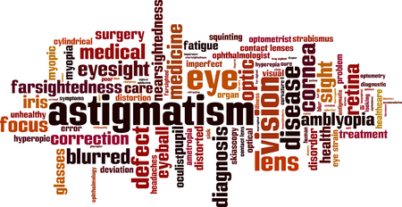Astigmatism word cloud concept. Vector illustration