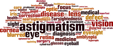 squinting: Astigmatism word cloud concept. Vector illustration