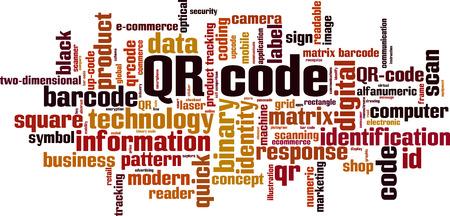 QR code word cloud concept. Vector illustration