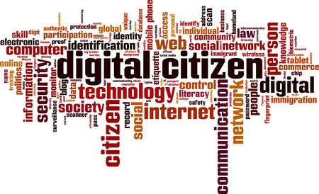 Digital citizen word cloud concept. Vector illustration Иллюстрация
