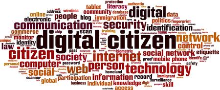 Concept numérique de mots numériques pour les citoyens. Illustration vectorielle