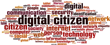 Digitale burger woord wolk concept. Vector illustratie