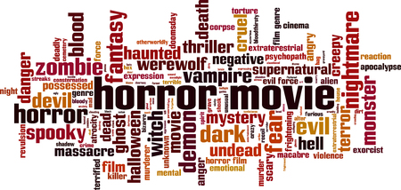 Horror movie word cloud concept. Vector illustration Illustration