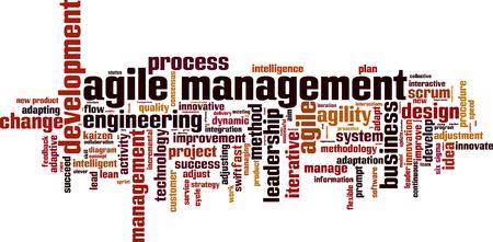 Agile management word cloud concept. Vector illustration Çizim
