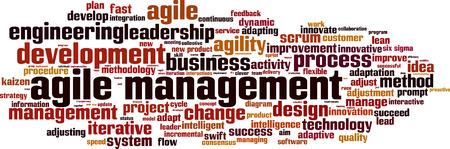 flexible: Agile management word cloud concept. Vector illustration Illustration