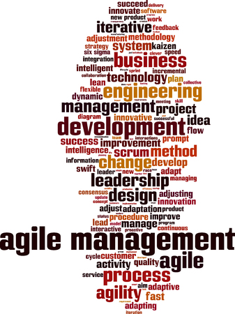 Agile management word cloud concept. Vector illustration