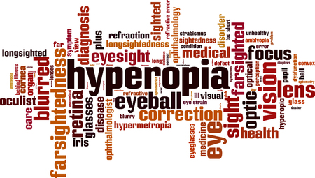 Hyperopia word cloud concept. Vector illustration