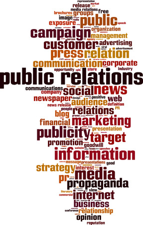 Relations publiques concept mot nuage. Vector illustration