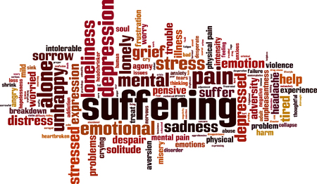Suffering word cloud concept. Vector illustration