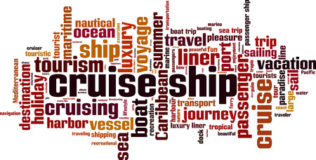 Cruise ship word cloud concept. Vector illustration