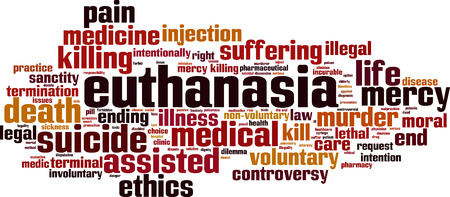 Euthanasia word cloud concept. Vector illustration Illustration