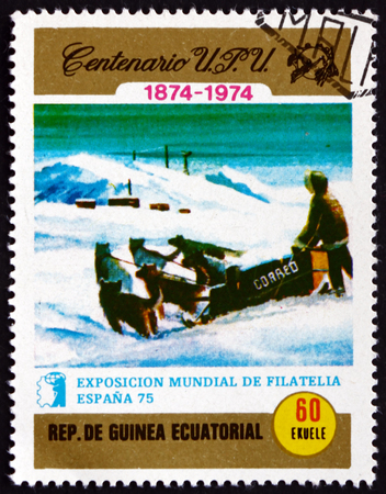 EQUATORIAL GUINEA - CIRCA 1974: a stamp printed in Equatorial Guinea shows Postman in sleigh, circa 1974