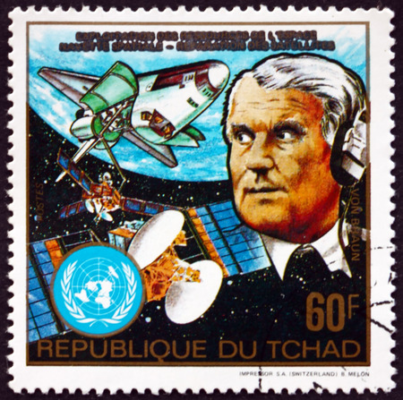 CHAD - CIRCA 1983: a stamp printed in Chad shows Wernher von Braun, and Columbia space shuttle, circa 1983 Editorial