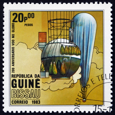 manned: GUINEA-BISSAU - CIRCA 1983: a stamp printed in Guinea-Bissau shows Hot air balloon, manned flight bicentenary, circa 1983