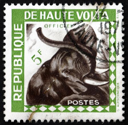 BURKINA FASO - CIRCA 1963: a stamp printed in Burkina Faso shows African Elephant, Loxodonta Africana, Mammal, circa 1963