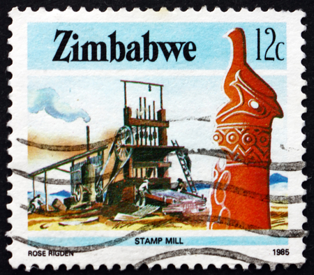 ZIMBABWE - CIRCA 1985: a stamp printed in Zimbabwe shows Zimbabwe bird and stamp mill, industry, circa 1985