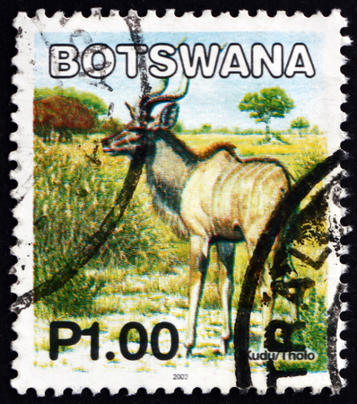 BOTSWANA - CIRCA 2002: a stamp printed in Botswana shows Greater kudu, tragelaphus strepsiceros, antelope, circa 2002 Editorial