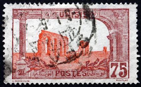 commemorate: TUNISIA - CIRCA 1906: a stamp printed in Tunisia shows Ruins of Hadrians aqueduct, circa 1906